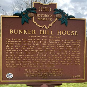 Ohio Historical Marker Bunker Hill House Picture